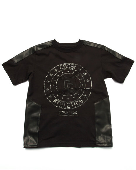 COOGI - Boys Black Logo Tee W/ Pu Trim (8-20)