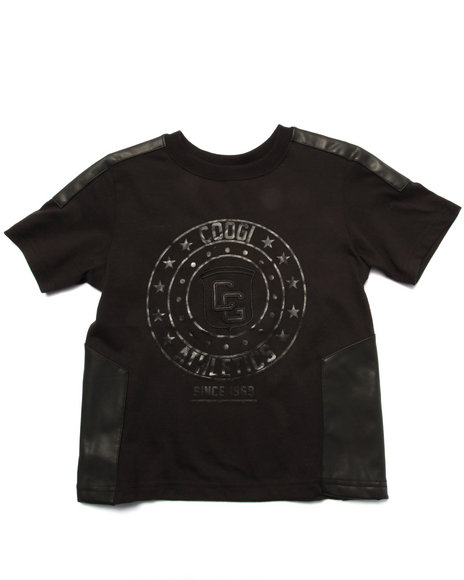 COOGI - Boys Black Logo Tee W/ Pu Trim (4-7)
