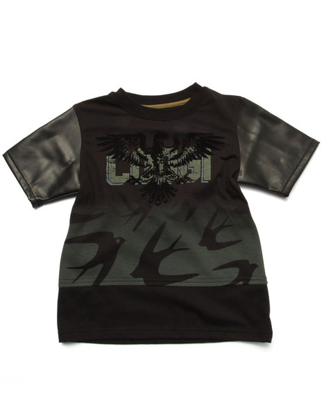 COOGI - Boys Black Extended Length Tee W/ Pu Trim (4-7)