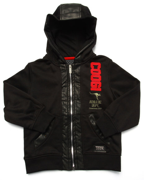 Coogi - Boys Black French Terry Pullover Hoody W/ Faux Leather Sleeves (4-7)