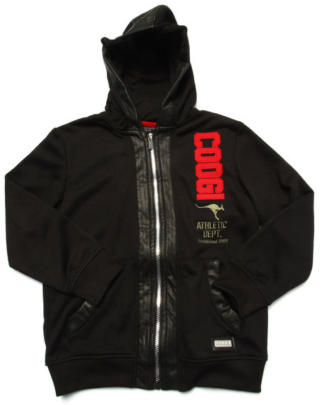 Coogi - Boys Black French Terry Pullover Hoody W/ Faux Leather Sleeves (8-20)