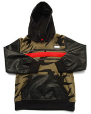 Hoodies - PRINTED FRENCH TERRY PULLOVER HOODY W/ FAUX LEATHER SLEEVES (4-7)