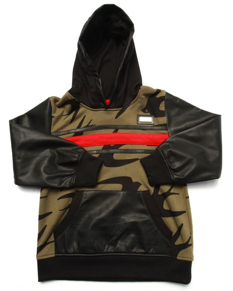 Coogi - Boys Olive Printed French Terry Pullover Hoody W/ Faux Leather Sleeves (4-7)