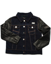 Light Jackets - DENIM JACKET W/ FAUX LEATHER SLEEVES (8-20)