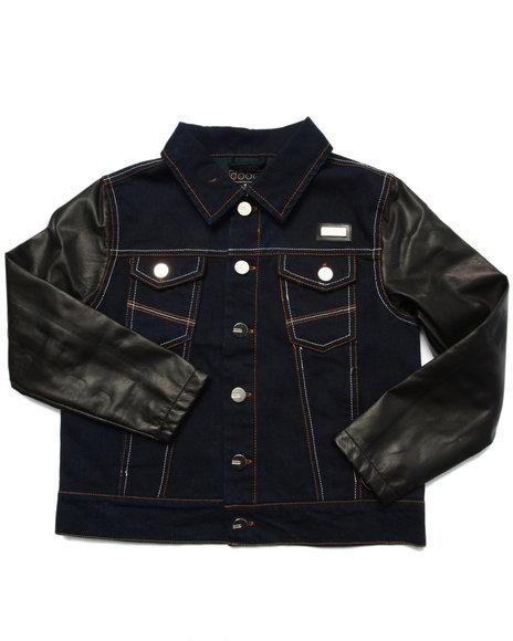 Coogi - Boys Dark Wash Denim Jacket W/ Faux Leather Sleeves (8-20)