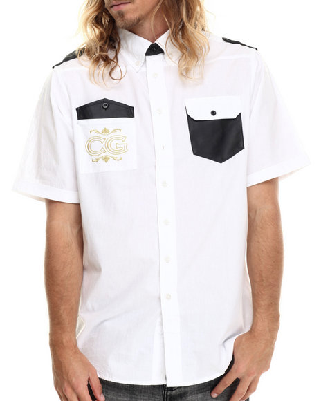 Coogi - Men White Embroidered Faux Leather Trim Boroque S/S Button Down Shirt
