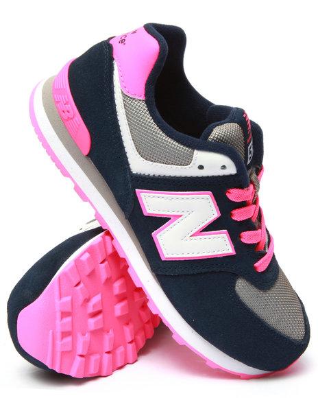 New Balance - Girls Navy,Pink 574 Core Plus Sneakers (3.5-7)