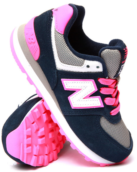 New Balance - Girls Navy,Pink 574 Core Plus Sneakers (11-3)