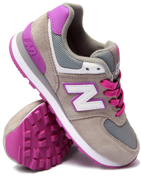 New Balance - Girls Grey 574 Core Plus Sneakers (11-3)