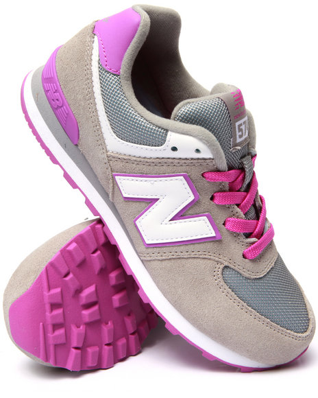 New Balance - Girls Grey 574 Core Plus Sneakers (3.5-7)