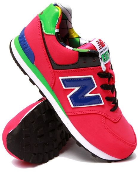 New Balance - Girls Pink Pop Tropical 574 Sneakers (3.5-7)