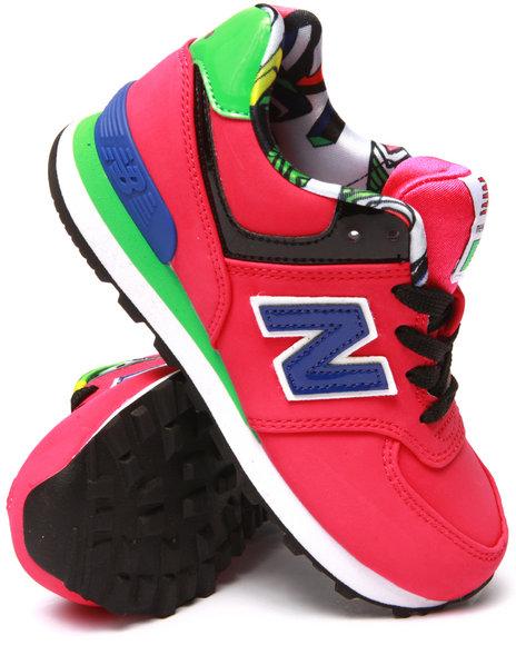 New Balance - Girls Pink Pop Tropical 574 Sneakers (11-3)