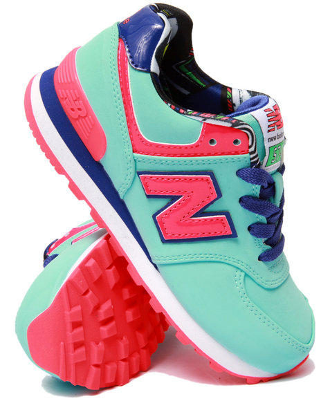 New Balance - Girls Light Blue Pop Tropical 574 Sneakers (11-3)