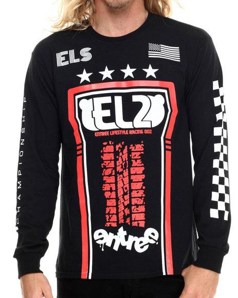 Ur-ID 213792 Entree - Men Black El2 Racing 002 L/S T-Shirt