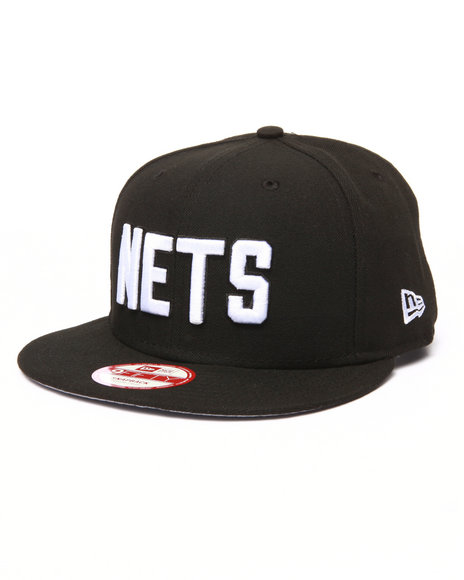 New Era Men Nets Baycik 950 Snapback Hat Black Medium/Large