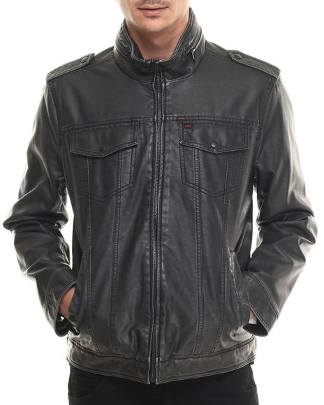 Levi's - Men Black Johnson Faux Leather Moto Jacket