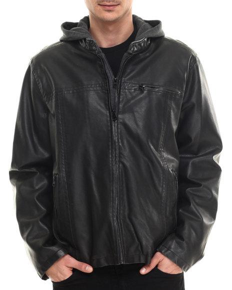 Levi's - Men Black Faux Leather Moto Jacket W/ Hood