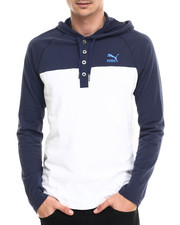 Long-Sleeve - Henley Hooded Tee