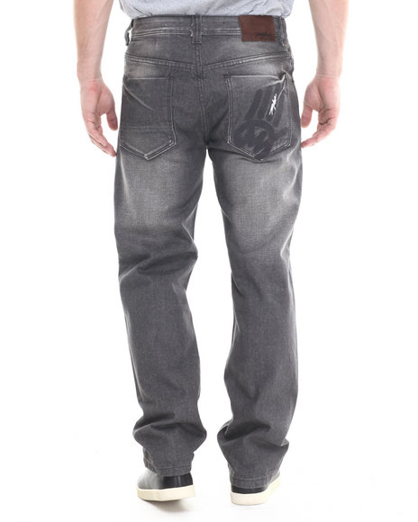 Ur-ID 213862 Miskeen - Men Grey Grey Wash Big Hand Back Pocket Embroidery Denim Jeans
