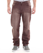 Men - Burgundy wash Big Hand Back pocket embroidery denim jeans