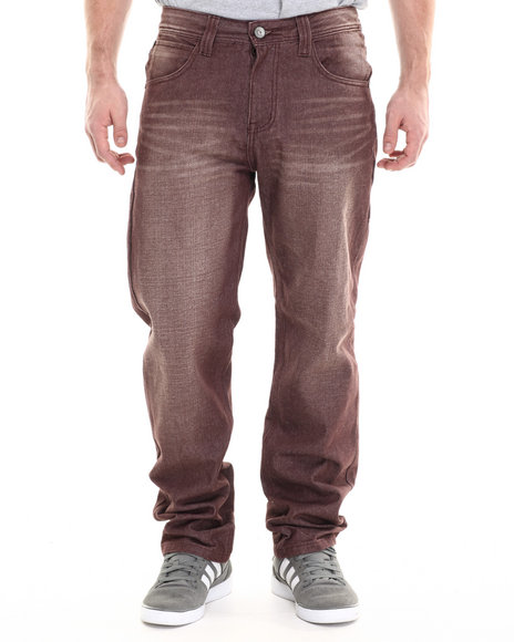 Miskeen - Men Maroon Burgundy Wash Big Hand Back Pocket Embroidery Denim Jeans