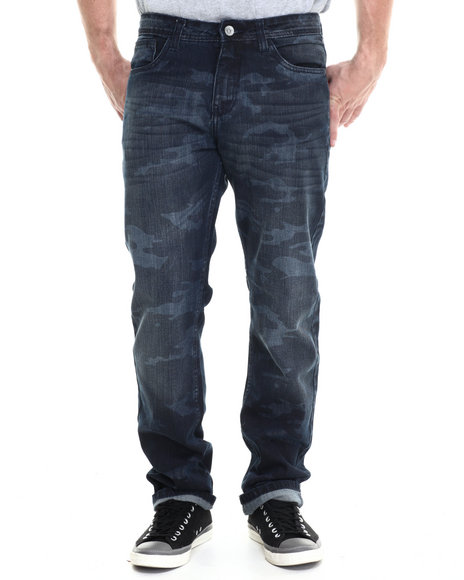 Buyers Picks - Men Dark Wash Faded Camo Washed Denim Jeans