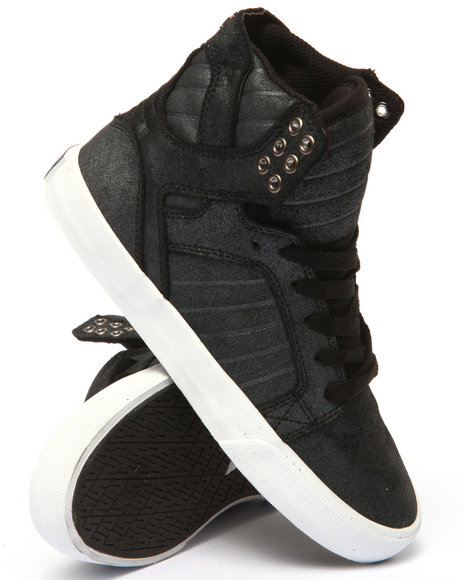 Supra - Women Black Skytop Metallic Suede High Top Sneaker