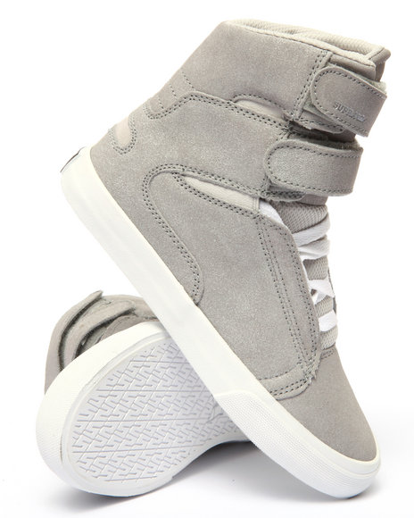 Supra - Women Grey,Silver Society Ii Metallic Suede Mesh Detail High Top Sneaker