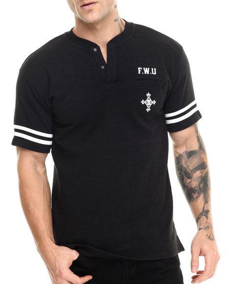 Crooks & Castles - Men Black Holligan S/S Henley