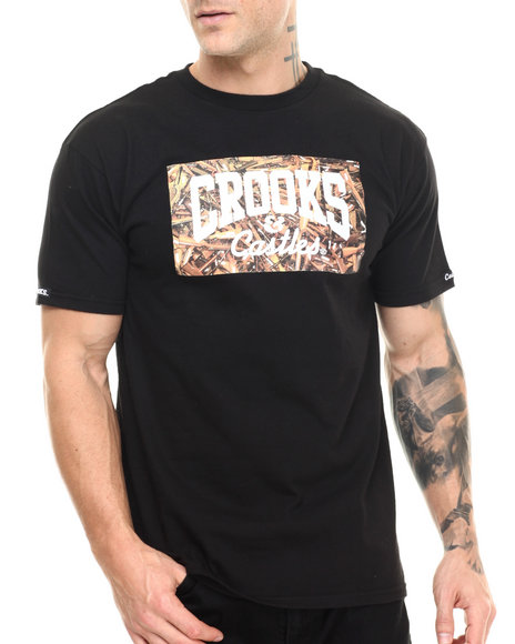 Crooks & Castles - Men Black Gun Pile Core T-Shirt