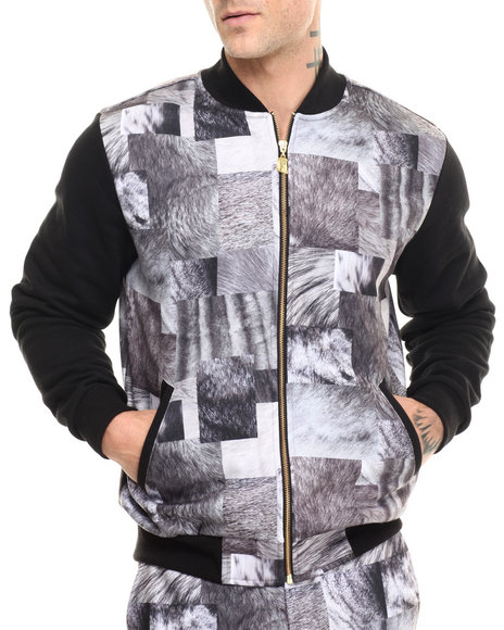 Crooks & Castles - Men Black,Grey Remmy Baseball Jacket