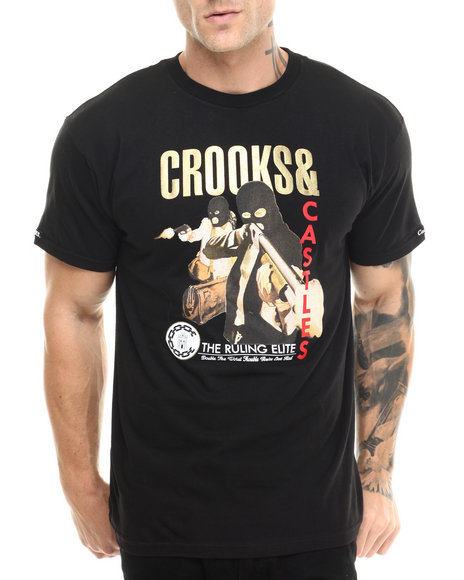 Crooks & Castles - Men Black Crooks Getaway T-Shirt