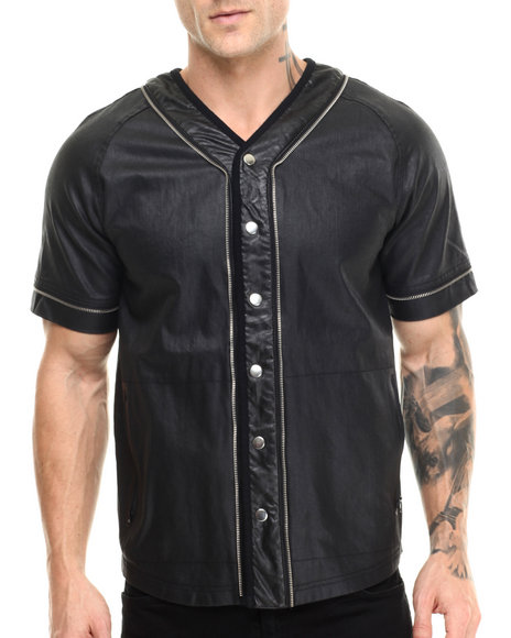 Allston Outfitter - Men Black Waxed Denim Baseball Jersey - $115.00