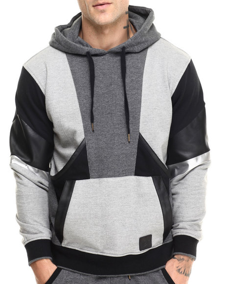 Allston Outfitter - Men Charcoal,Black,Grey Multi Panel Hoodie