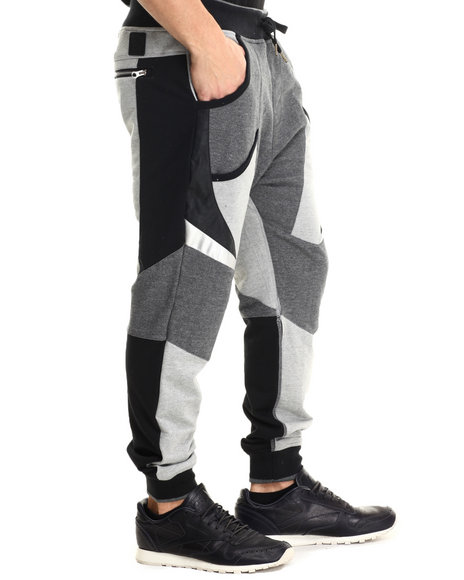 Allston Outfitter - Men Charcoal,Black,Grey Panel Terry Jogger Pants