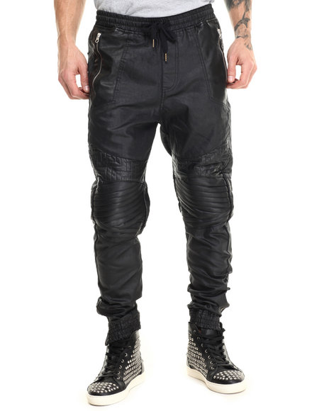 Allston Outfitter - Men Black Waxed Denim Stiched Pants