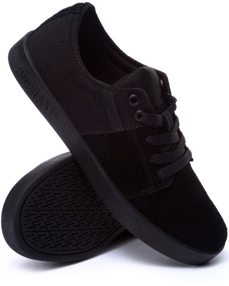 Supra - Men Black Stacks Black Suede/Canvas Sneakers
