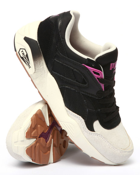 Puma - Women Black R698 Block And Stripes Sneakers