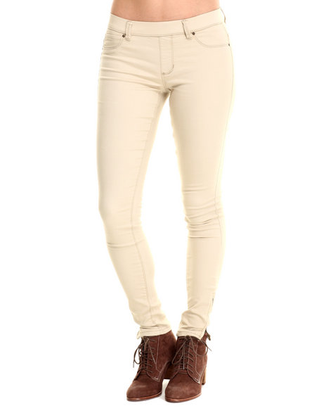 Basic Essentials - Women Khaki Miracle Stretch Pull-On Twill Pant W/Ankle Zipper