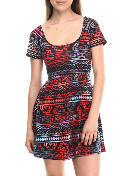 Ali & Kris - Women Multi Aztec Print Open-Back Skater Dress - $30.00