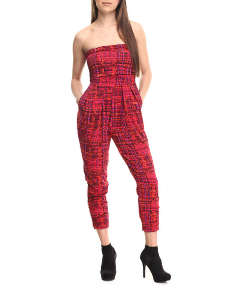 Ur-ID 213885 ALI & KRIS - Women Multi,Red Strapless Ruched Jumpsuit