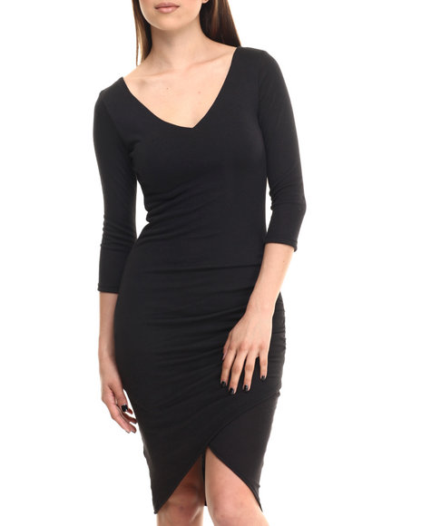 Ali & Kris - Women Black Ruched 3/4 Sleeve Midi Dress - $20.99