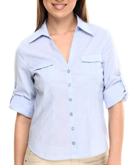Ali & Kris - Women Light Blue Chambray L/S Button-Up - $28.00