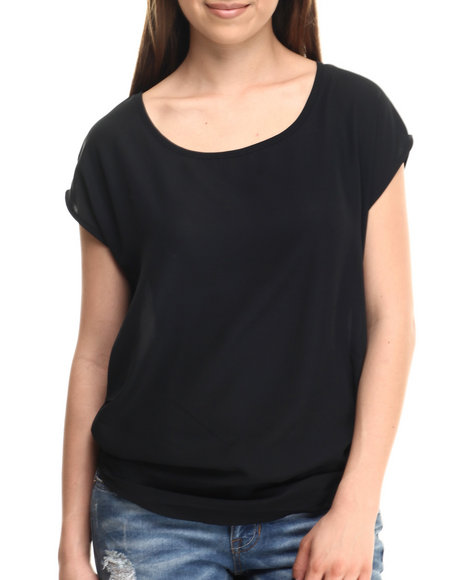 Ali & Kris - Women Black Chiffon Ruched Detail Top