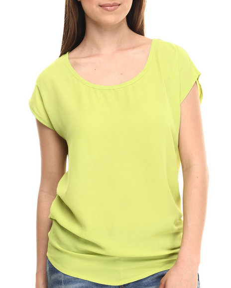 Ali & Kris - Women Green Chiffon Ruched Detail Top - $20.99