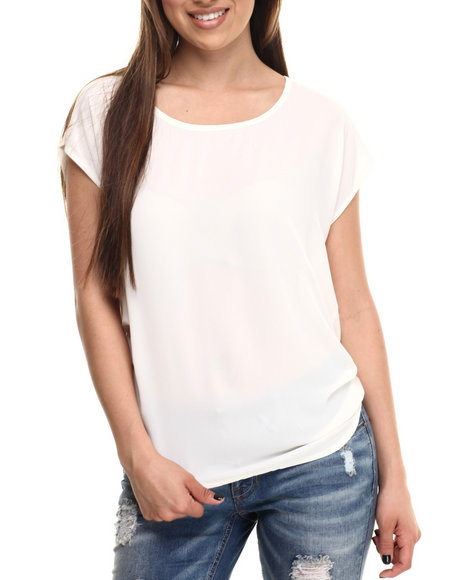 Ur-ID 213965 ALI & KRIS - Women Cream Chiffon Ruched Detail Top