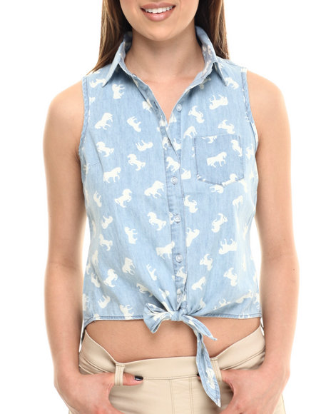 Ali & Kris - Women Light Blue Denim Horses Sleeveless Tie Front Button-Up - $25.00
