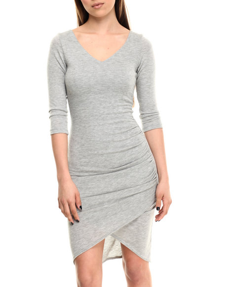 Ali & Kris - Women Grey Ruched 3/4 Sleeve Midi Dress - $32.00