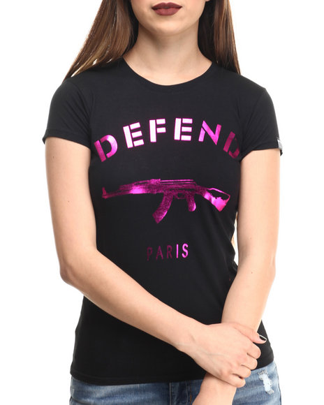 Ur-ID 213556 Defend Paris - Women Black Defend Paris Pink Foil Signature S/S Tee