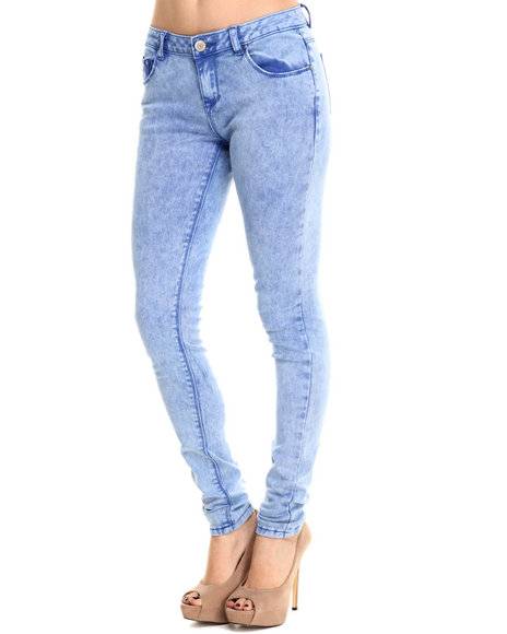 Basic Essentials - Women Blue Acid Washed Skinny Jean